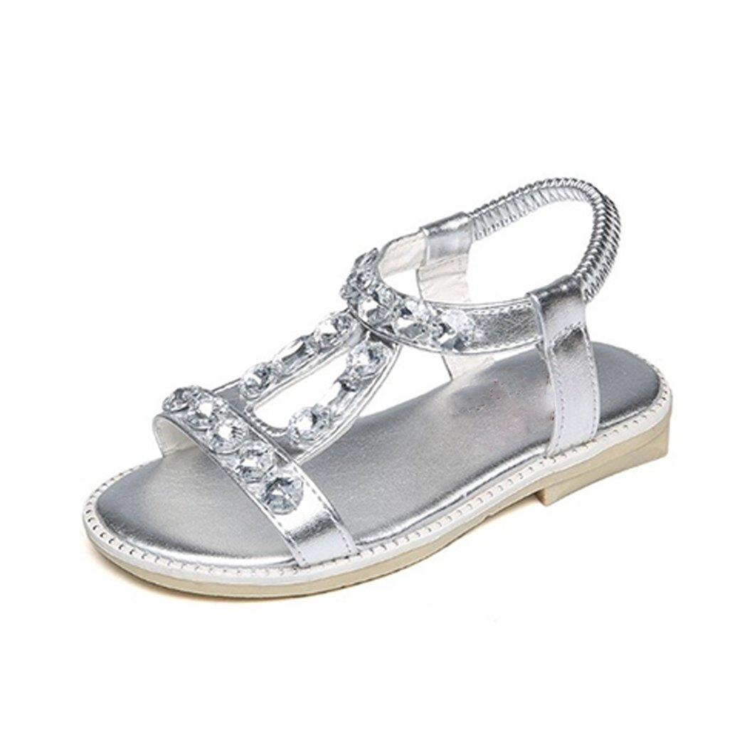HANMAX Kids Little Girls Rhinestone Gladiator Princess T-Strap Sandals