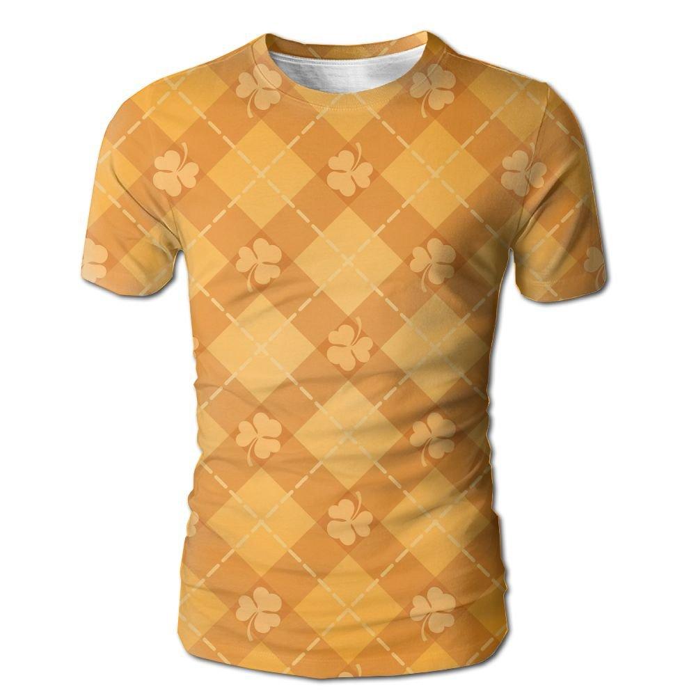 XIA WUEY Orange Rhombus Clover MensCute Baseball Tshirt Graphic Tees Tops For Sports by XIA WUEY