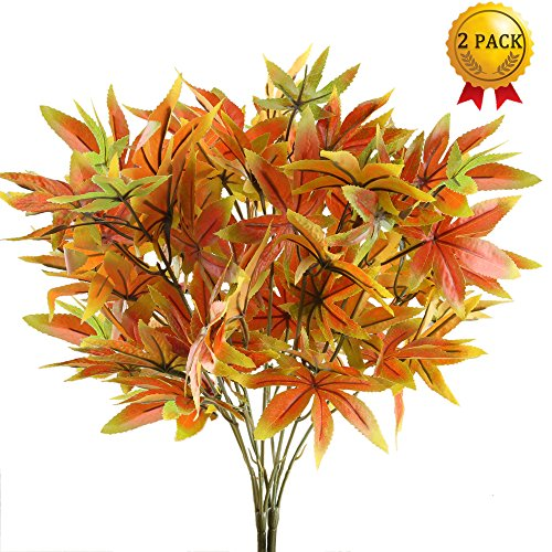 Nahuaa 2PCS Artificial Shrubs Fake Fall Bushes Large Silk Autumn Maple Leaves Bundles Indoor Outdoor Table Centerpieces Arrangements Home Kitchen Office Hanging Baskets Spring (Fall Bush)