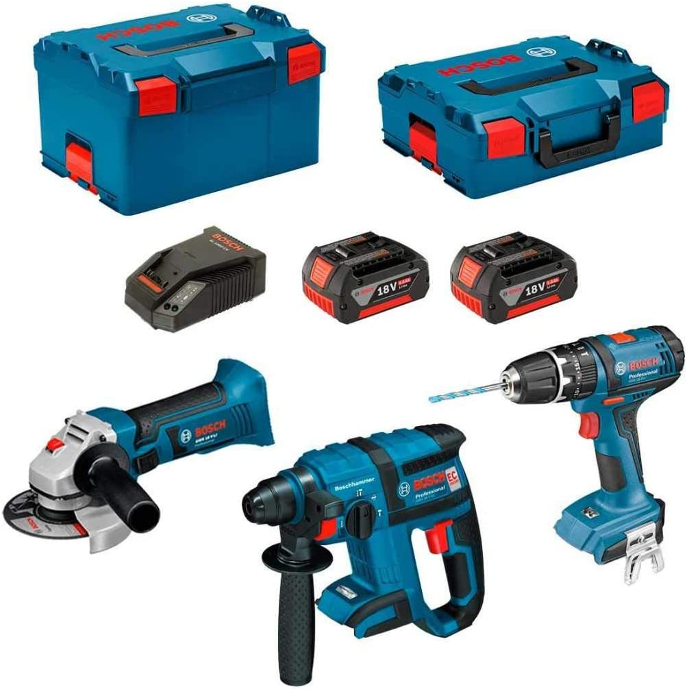BOSCH Kit PSL3P3 (GBH 18 V-EC + GSB 18V-21 + GWS 18-125 V-LI + 2 x 5,0Ah + GAL18V-40 + L-Boxx 238 + L-Boxx 136): Amazon.es: Bricolaje y herramientas