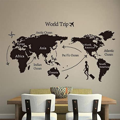 Amazon Com Xiongxi Room Decoration World Travel Map Wall Stickers Home Decor Living Room Bedroom Office School Decoration Accessories Pvc Mural Wall Art Stickers Home Kitchen