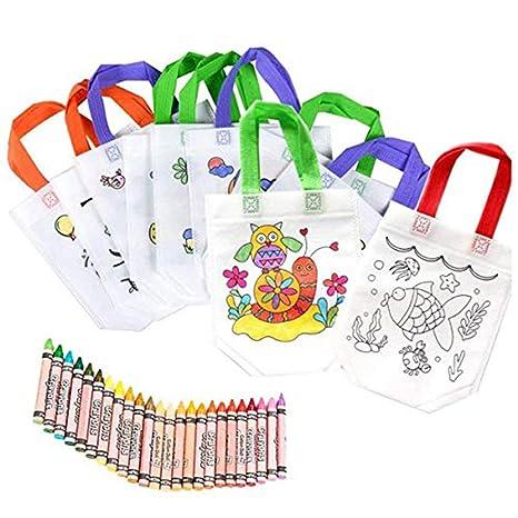 Bolsas para Colorear 12 Pcs (Diferentes Diseño) con 24 Pasteles de Aceite Ideal para regalos de cumpleaños comuniones colegios guarderías y ...