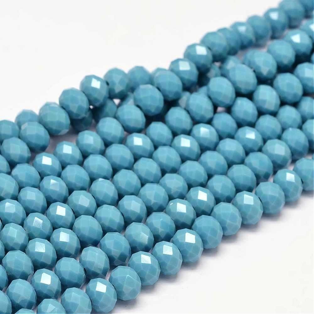 Halbedelstein Türkis Jade-Stein Perlen 15Stk 8 x 6 mm Blau Rondelle Facettiert Schmuckperlen Schmuckstein G49