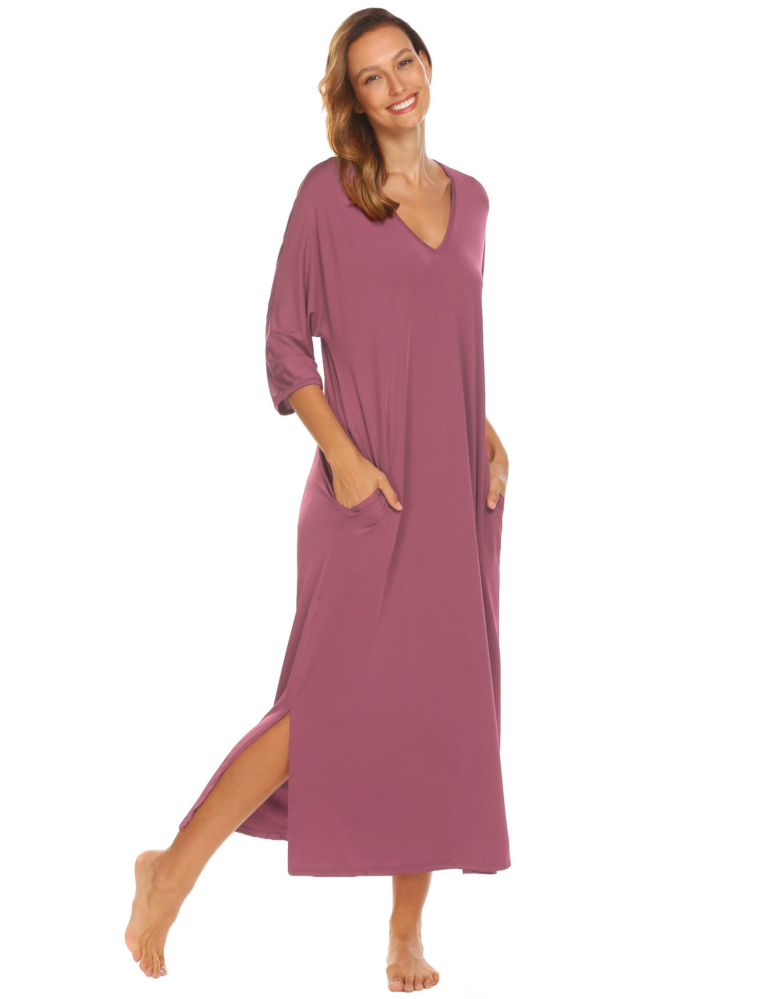 Ekouaer Sleepwear Women Half Sleeve V-Neck Solid Loose Fit Soft Nightgown,Pale Violet Red,XX-Large