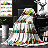 Unique Custom Double Sides Print Flannel Blankets Skyline Detailed Silhouette Set Thailand Malaysia India Indonesia China Vietnam Japan Super Soft Blanketry for Bed Couch, Twin Size 60 x 80 Inches