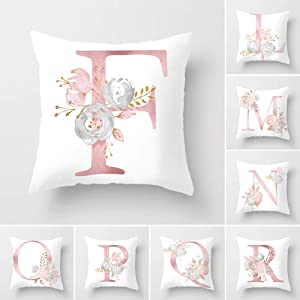 Tillskuch Throw Pillow Covers 26 Decorative English Letters Floral Pillowcases Velvet Soft Cushion Cover White Pillow Protectors for Sofa Bedding Car and Home Decor (18x18 / 45x45cm, Letter F)