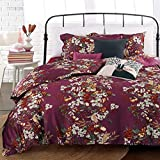 Eikei Shabby Chic French Country Garden Floral Duvet Quilt Cover by, Colorful Blossom Fruit Print Reversible Cotton Bedding Set Cottage Style Blooming Orchard Meadow Flowers (Queen, Plumberry)