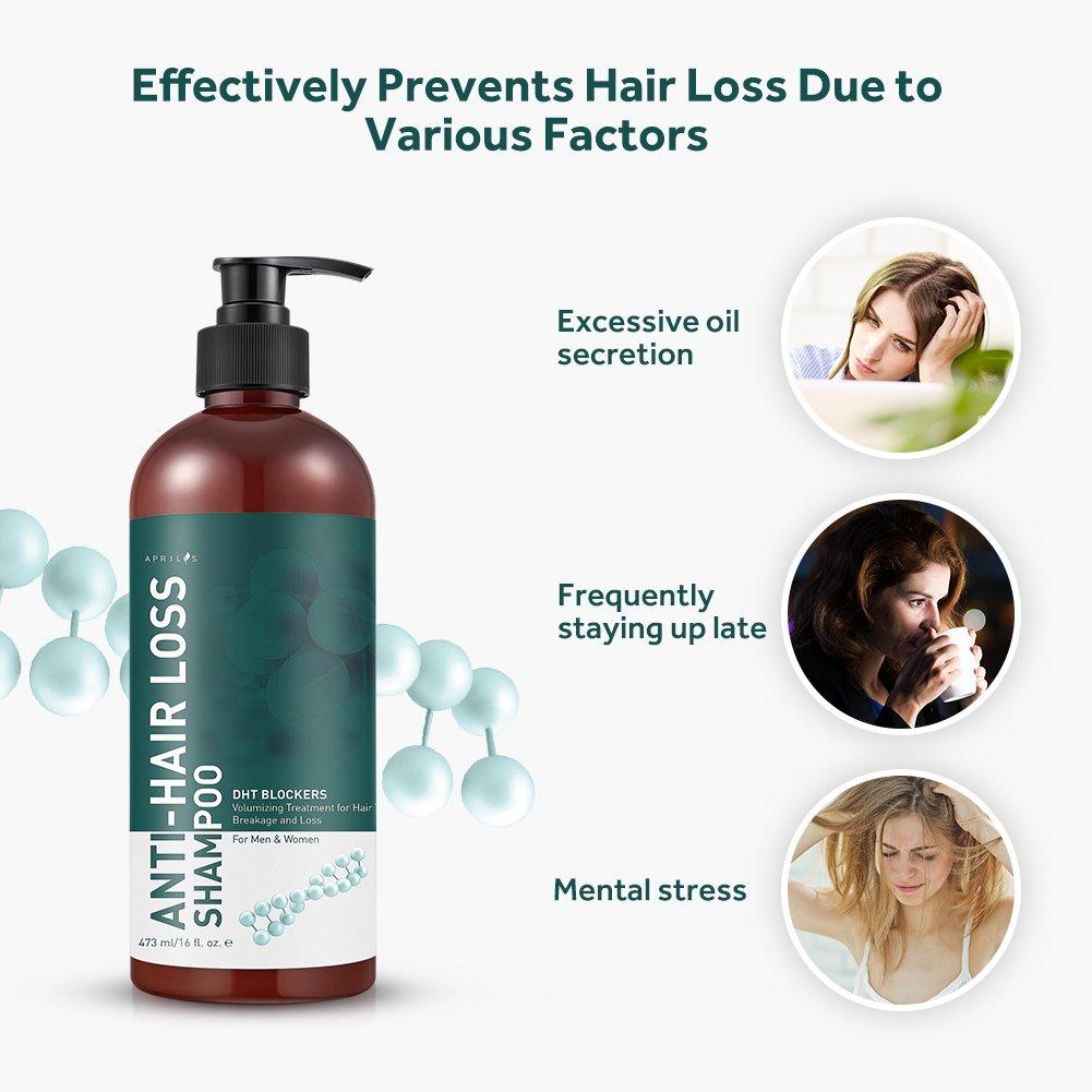 Aprilis Champú anti pérdida de cabello, DHT Blockers Champú estimulante para el cabello fino, añade volumen y fortalece el cabello, para todos los tipos de ...
