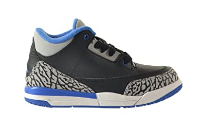 97d033eb5e439d Jordan 3 Retro BP Little Kids Shoes Black Sport Blue-Wolf Grey 429487-