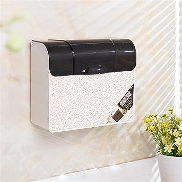 Jack Mall Cuarto de baño WC de plástico caja de papel caja de papel higiénico Toalla colocar el papel pintado Caja de almacenamiento (Color : Blanco) : ...