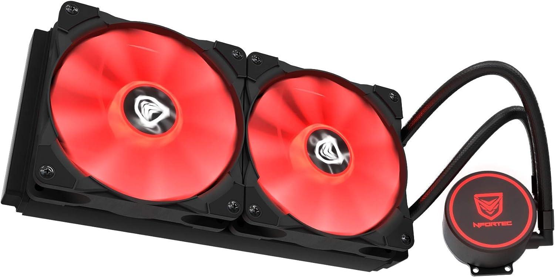 Nfortec Hydrus V2 Refrigeración Líquida 240mm con Ventilador LED Red de 120mm (Compatible con AMD e Intel) - Color Rojo: Amazon.es: Informática