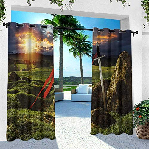 King, for Patio Light Block Heat Out Water Proof Drape,Arthur Camelot Legend Myth in England Ireland Fields Invincible Myth Image, W108 x L84 Inch, Green Blue and Red