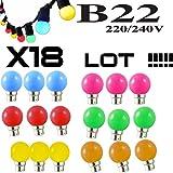 Lote de 18bombillas LED B22, 1W (equivalente a 15 W), para guirnalda, irrompibles, color rojo, amarillo, verde, naranja, rosa, azul