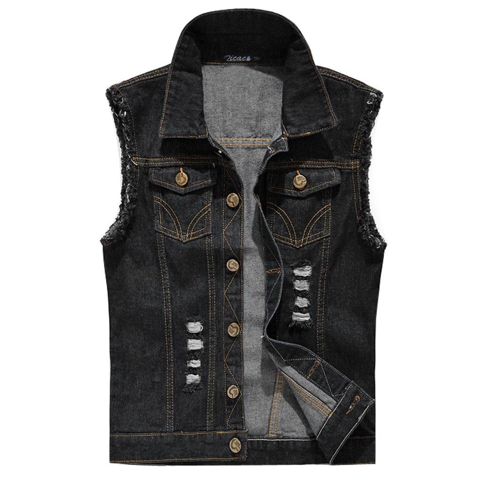 Zicac Men's Top Design Denim Vest Waistcoat with Broken Holes (M, Black) by Zicac