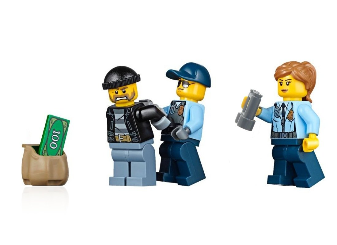 Male Cop Run Away Bandit 60130 LEGO City Police MiniFigure Combo Pack: Police /& Female Cop