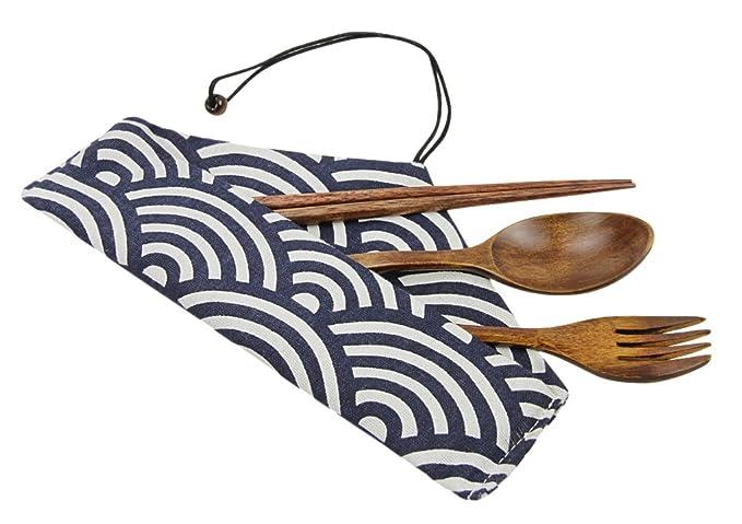 viaggi casa scuola marrone ufficio picnic FAVOLOOK Kit portatile bacchette di legno cucchiaio forchetta set da tavola con borsa per campeggio