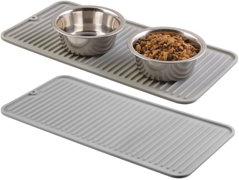 mDesign Premium Quality Pet Food and Water Bowl Feeding Mat for Cats and Kittens - Waterproof Non-Slip Durable Silicone Placemat - Raised Edges, Food Safe, Non-Toxic - Small, 2 Pack - Gray