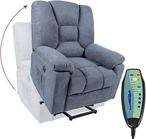oneinmil Power Lift Chair, Lift Chairs Recliners for Elderly with Heated Vibration Massage Recliner with Side Pockets, USB Charge Port Massage Remote Control, Blue Grey