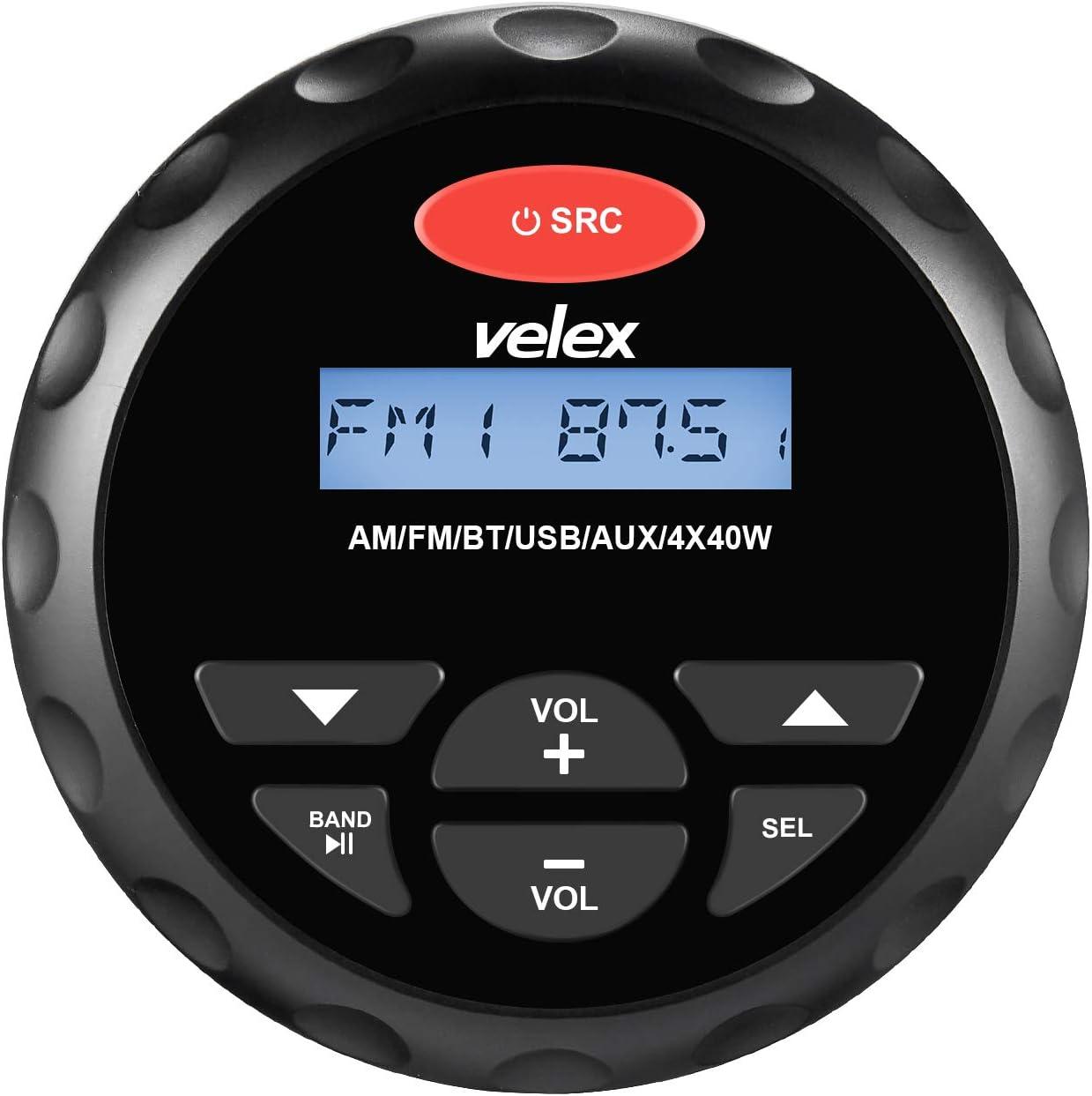 Receptor estéreo con Bluetooth y Reproductor de MP3 Am, Radio FM y USB para Reproducir música en Barcos, carritos de Golf, ATV, UTV y SPA.