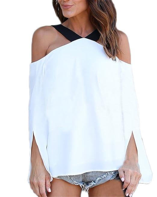 Auxo Mujer Camiseta Mangas Largas Halter Blusa de Vestir Off Shoulder Elegante Playa Blanco ES 42