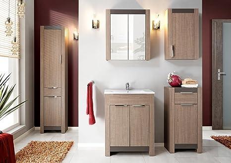 Mobile Da Bagno Fai Da Te : Hobby set di mobili da bagno 6 pezzi in rovere sonoma con lavabo 60