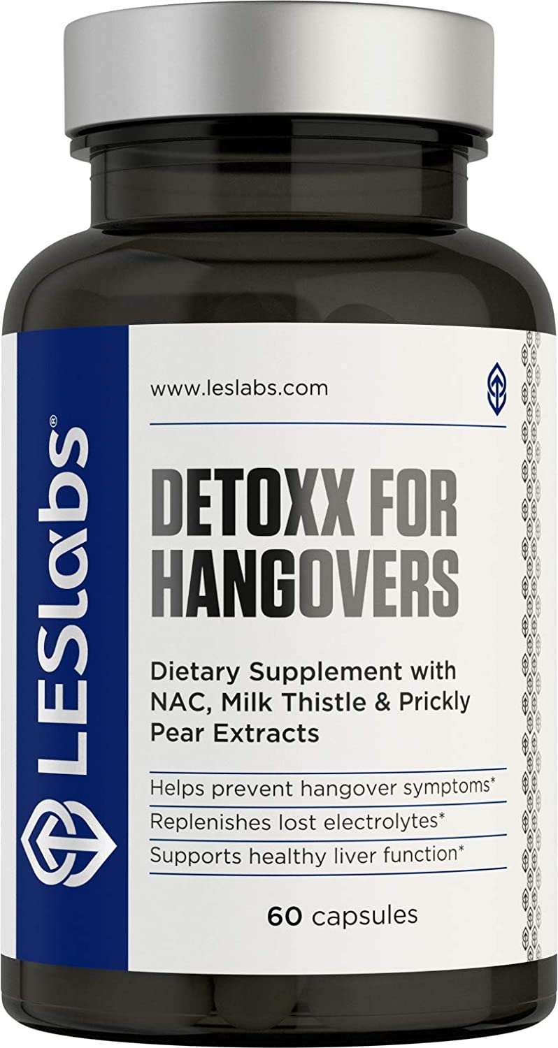 LES Labs DeToxx for Hangovers, Natural Supplement for Liver Support Electrolyte Replenishment, 60 Capsules