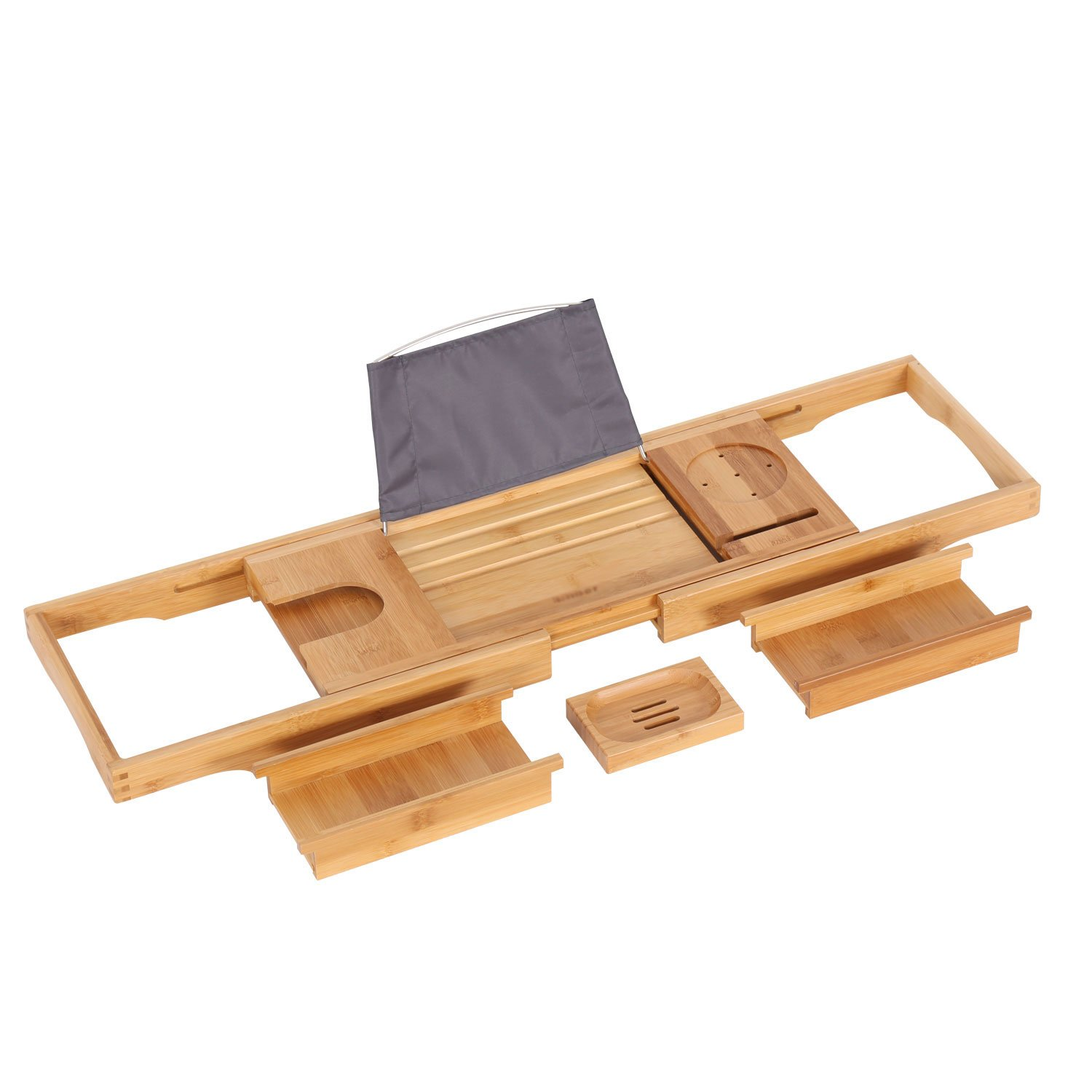 Peach Tree Bathtub Caddy Bamboo Bathtub Tray, Natural BAMBOO, With Extending Sides, Reading Rack, Tablet Holder, Cellphone Tray & Integrated Wine Glass Holder, Soap Holder