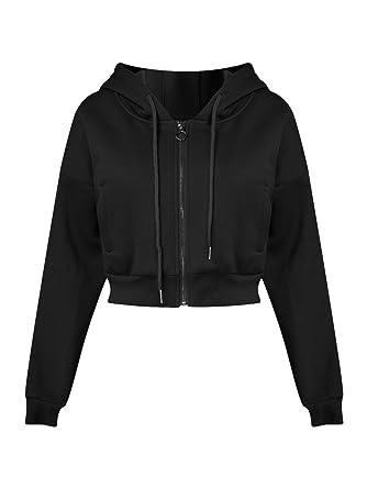 e4ba1799396 Joeoy Women s Black Drawstring Zip Up Fleece Hoodie Coat Jacket Crop Top-S