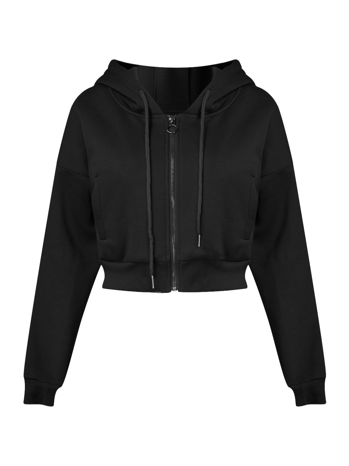 Joeoy Women's Black Drawstring Zip up Fleece Hoodie Coat Jacket Crop Top-M