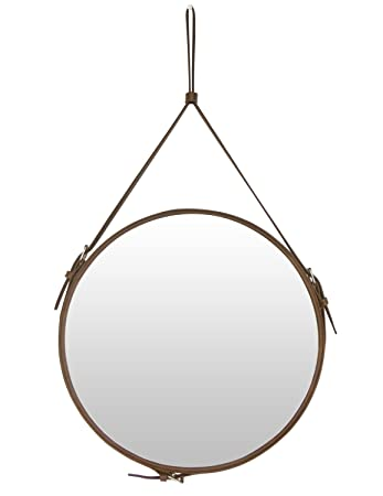 HofferRuffer Top Notch PU Leather Round Wall Mirror for Your Home, Decorative Mirror with Hanging Strap and Silver Hardware Hanger Hooker, Diameter 15.8 inch, Brown