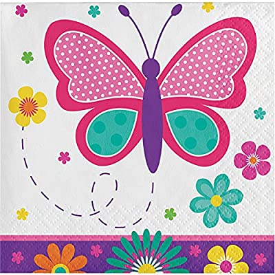 Butterfly Garden Birthday Party Supplies Pack for 16 Guests: Straws, Dessert Plates, Beverage Napkins, Table Cover, and Cups: Toys & Games