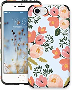 CUSTYPE Case for iPhone SE, iPhone 7 Case for Girls & Women, Floral Series Watercolor Camellia Flower Pattern Design PC Leather with TPU Bumper Slim Protective Cover for iPhone 8/ iPhone 7 4.7''