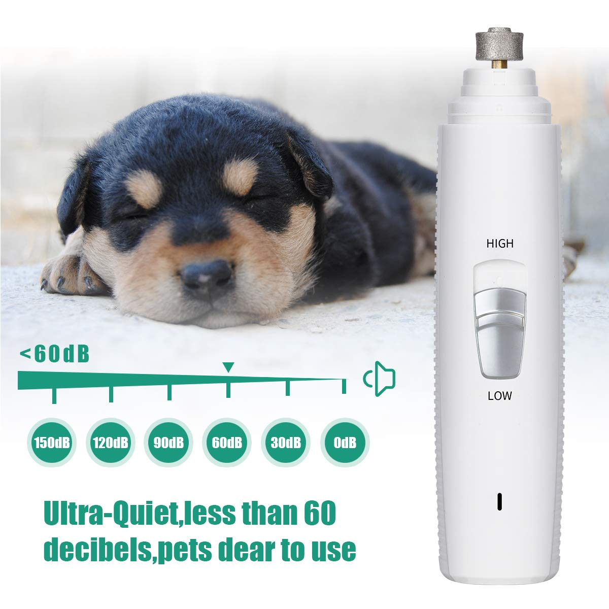 Anewgift Dog Nail Grinder,Electric Dog Nail Grinder Trimmer Clipper with USB Wire, Professional Nail Grooming &Trimming for Small Medium Large Pets, Safe, Ultra Quiet Painless