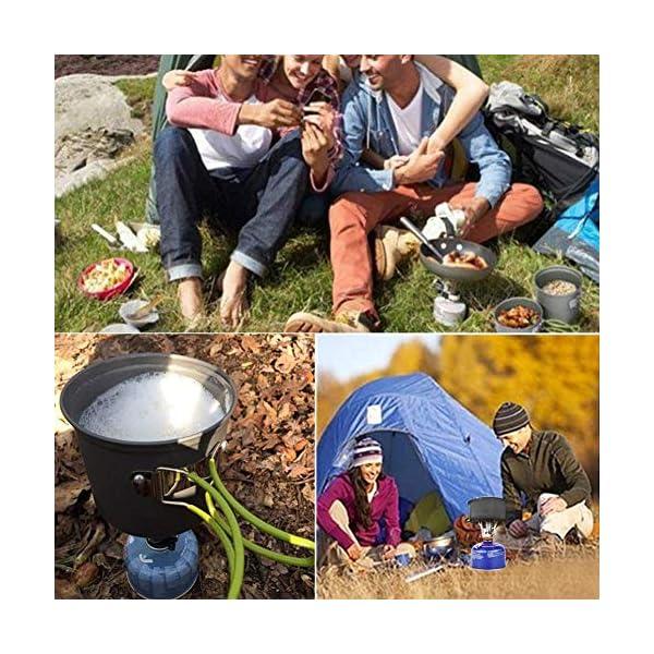 61%2BXyjz7t L Camping Geschirr Set Kochset Aluminium Camping Töpfe Becher Faltbare Besteck Mini Campingkocher Wasserkocher Super…