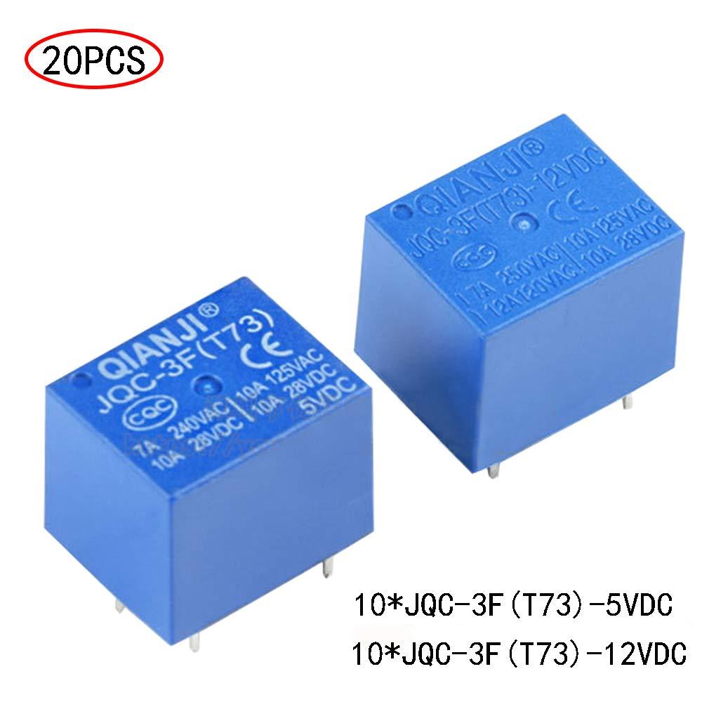 20 PCS DC 5V//12V Coil 5 pins Mini Spst Puissance Relais PCB type Jqc-3F relais 12V//5V pour Relais Automobile Moto