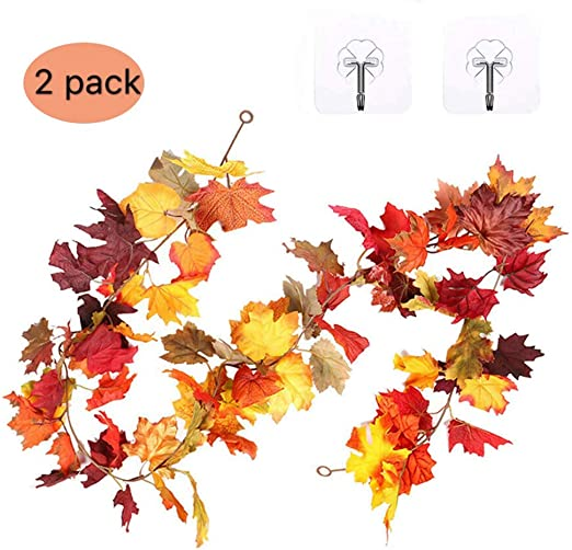 Thanksgiving Fall Decor Autumn Table Leaves Door Home Leaf Wire Garland 12 Feet
