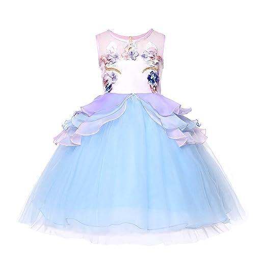 23e34f823aa91 Amazon.com: JerrisApparel Girl Unicorn Tutu Dress Halloween Pageant  Princess Costume Dress: Clothing