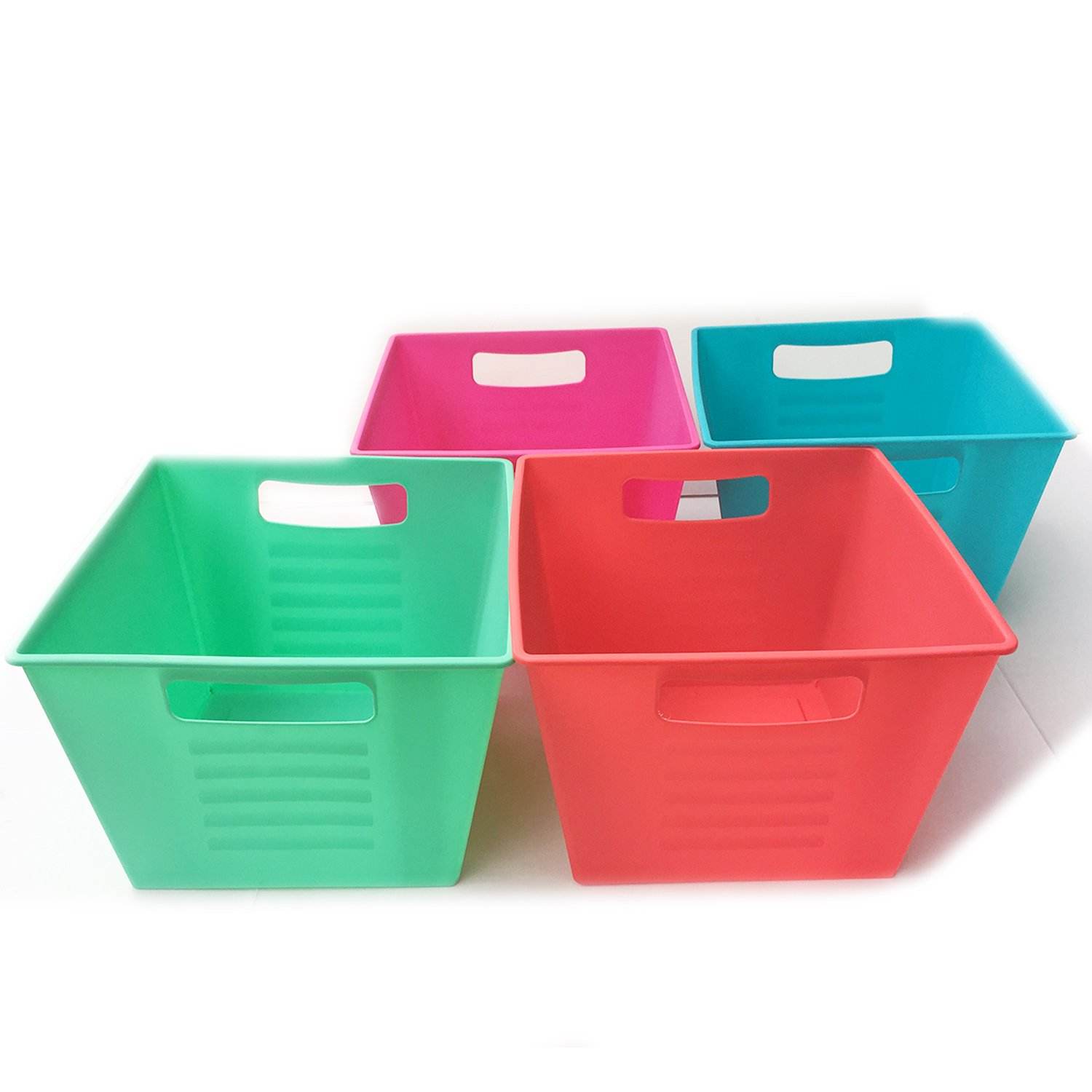 Storage Bins Plastic Containers Colorful Cubes Square Slotted Locker Book Bin Set with Handles Toy Organizer Boxes For Kids, Organizing Container in Bulk 4 Pack 4 Colors Red, Blue, Grey and Green/Teal