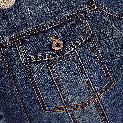 Jeans Denim Piel Para Oscuro De Chaqueta Invierno Winterjacke Azul Abrigo Con Hombre ZqRC55