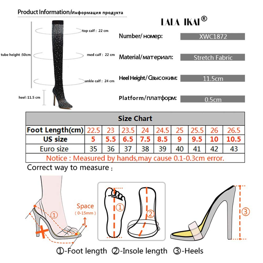 4c10fa34084e Amazon.com: LALA IKAI Women Glitter Black Boots with Rhinestone Over The Knee  Pump Heels Stretch Evening Party Dance Boots: Shoes