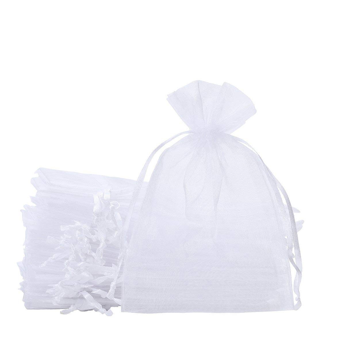 SumDirect 100PCS 6x9 Inches Organza Gift Bags with Drawstring(White) WHITE15X23CM100