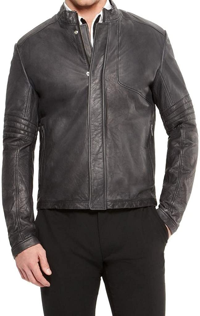 New Mens Leather Soft Lambskin Motorcycle Bomber Party Jacket LF838