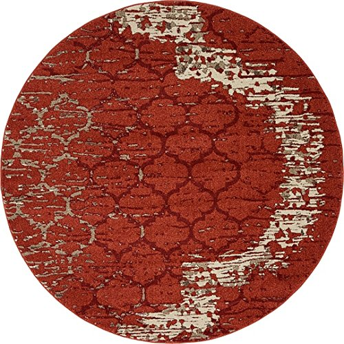Unique Loom Trellis Collection Terracotta 6 ft Round Area Rug (6' x (Burgundy Round Rug)