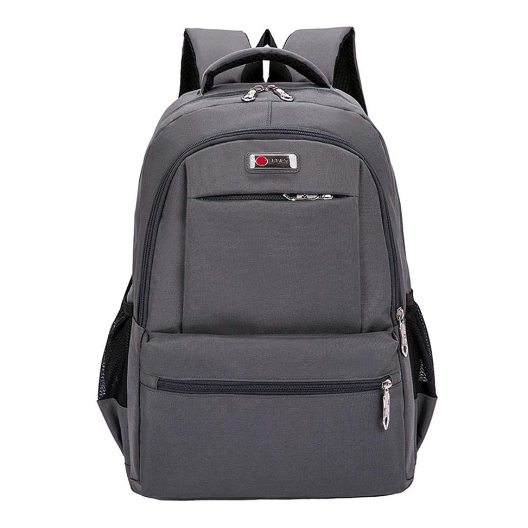 SUKEQ Travel Laptop Backpack, Fashion Canvas Zipper Backpack Multi Pocket School Bookbag College Student Bag Campus Backpack (Gray)