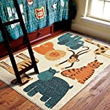 Orian Rugs Kids My room is a Zoo Beige Area Rug (5'2″ x 7'6″) For Sale
