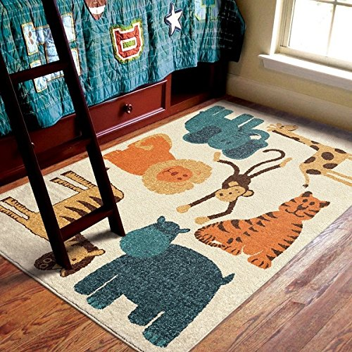 Orian Rugs Kids My room is a Zoo Beige Area Rug
