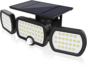 JESLED Solar Lights Outdoor with Motion Sensor, 3 Heads Adjustable Security Spotlight, 80LEDs Flood Lights Motion Detected, 360° Rotatable IP65 Waterproof Wall Light for Garage Porch Yard Patio-1 PC