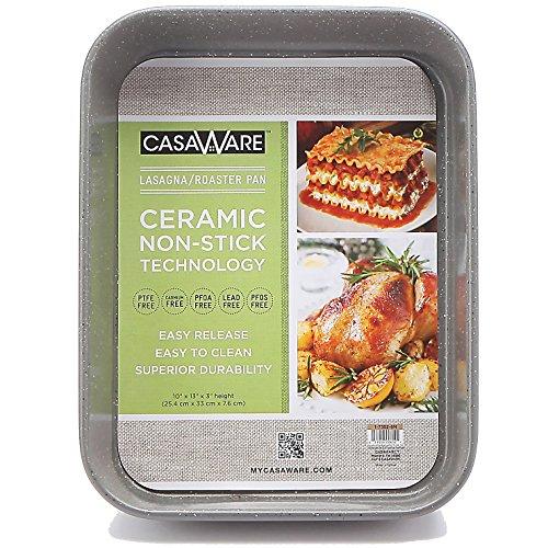 casaWare Ceramic Coated NonStick Lasagna/Roaster Pan 13 x 10 x 3-Inch (Silver Granite) ()
