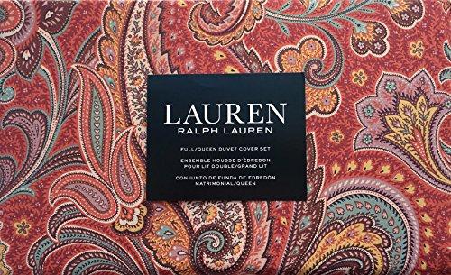 Ralph Lauren Yellow Paisley - Lauren Ralph Lauren Bedding 3 Piece Full / Queen Duvet Cover Set Paisley Pattern in Shades of Purple Green Yellow on Red