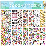 Stickers for Kids 2400+, 48 Sheets, Motorcycle Bicycle, Luggage Decal,Graffiti Patches Multiple Style Incentive Stickers for Teachers - No-Duplicate Sticker Pack